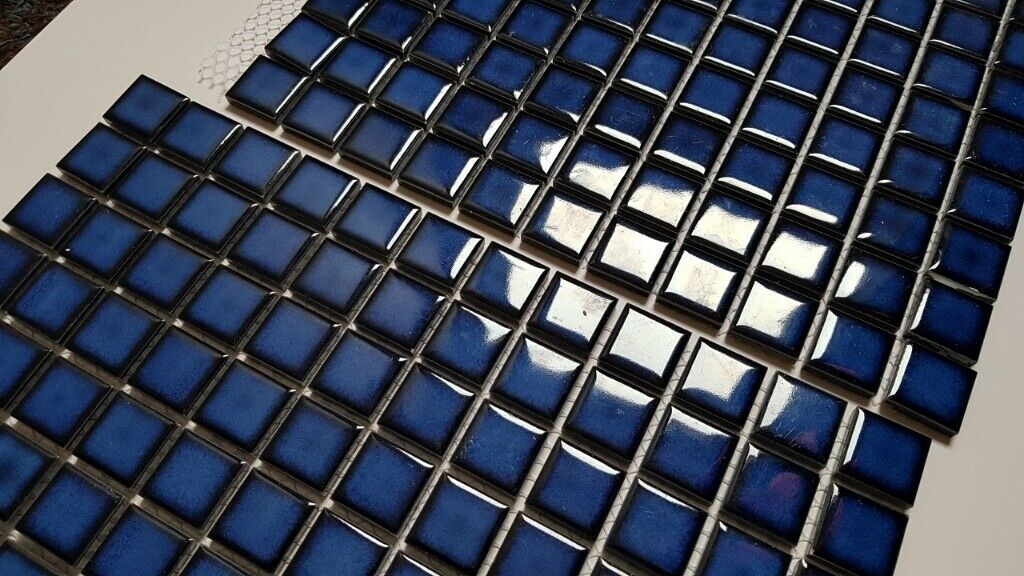 Blue Ceramic Mosaic Tile Sheets In