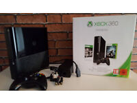 Xbox 360 E with original box 2 wireless controllers & 49 top named games