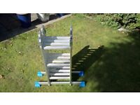 Fold Up Aluminium Ladder (with stands - see photos) - Like New