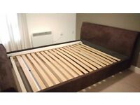 King bed with swede headboard