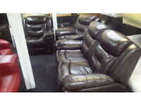 EX-DISPLAY ITALIAN HIGH QUALITY BROWN 2+1+1 SEATER RECLINER SET
