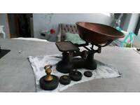 Vintage weighing scales plus weights