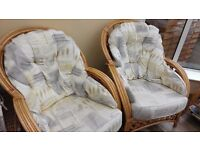 4 x Cane Conservatory Lounge Seats + Coffee table