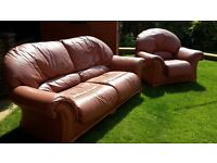 LEATHER SOFA AND TWO CHAIRS £150
