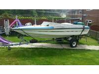 Boat powerboat outboard 60hp and trailer