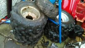 Quad wheels and tyres matching tread £80