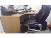 Corner office desk and leather chair