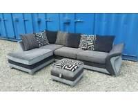 Black/Grey DFS Corner Sofa+Footstool.