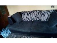 Black and grey 3 and 2 seat sofas