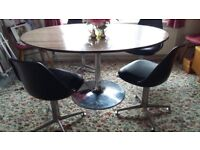 Table & 4 swivel chairs