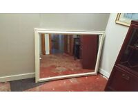 Large White-painted Wood-framed Mirror in Good Condition