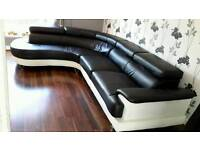 Black white faux leather corner group