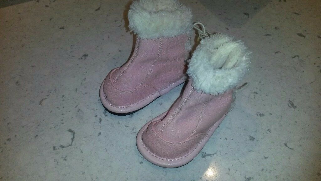Jack and Jill pink and fur boots - 6-12 months - new condition