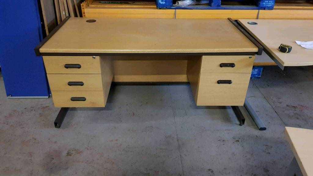 Used Office Desk Corner Work Station Table Computer Pc Home Study 5 Drawers Spare Storage