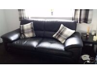 Black leather Sofa 3 seater and 2 seater