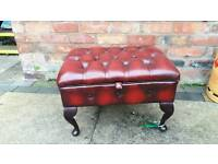 Chesterfield ottoman footstool. Oxblood leather. EXCELLENT CONDITION! BARGAIN.