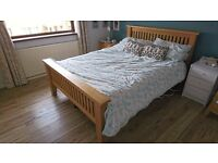 Solid Oak Double Bed and Matching Full Length Mirror - Together or Separate