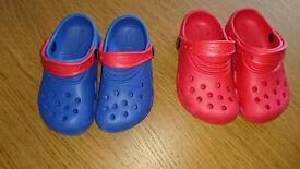 2 pairs of boys crocs c11-12