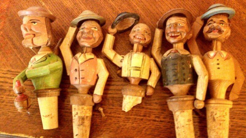 Vintage Hand Carved German Wine Stoppers