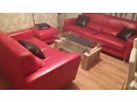 nice red leather sofa