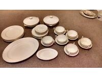 33 piece Paragon fine bone china dinner set - white with gold rim inc meat platter, lidded tureen