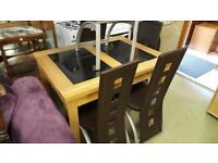 Oak Dining Table and 4 Chairs