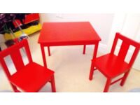Children's wooden play table and chairs