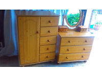 Small Wardrobe With Drawers & Chest of Drawers With Mirrored Dresser Top in Pine Finish Good Cond.