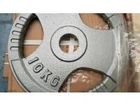 Olympic cast iron tri grip plates 10 kg