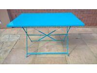 FOLDING METAL PATIO TABLE - LIGHT BLUE