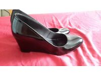 Womens black patent wedge shoe size 5 m&s