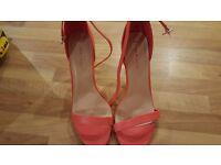 Ladies size 8 burnt orange strappy shoes
