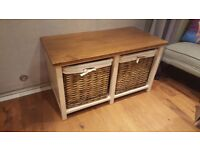 Vintage Retro Style Country Cottage Style Bench Shoe Storage Unit Coffee Table Console Side Table