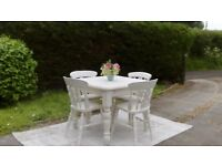 REDUCED! Beautiful Square Dining Table & 4 Chairs. Pale Cream, Shabby Chic. Delivery Available.