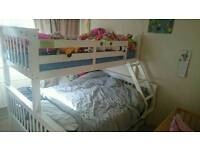 Solid pine white triple bunk bed with drawers