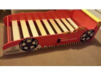 Wooden racing car bed cot size mattress