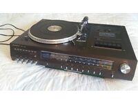 TURNTABLE + Amplifier + AUX (iPhone/ iPad/ TVs/ PC/ Mac...) Radio FM/ Cassette tape MUSIC CENTRE