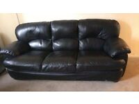 Black leather 3 seater sofa and recliner chair