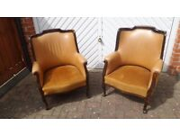 UNUSUAL OLD WING BACK PAIR OF CHAIRS FIRESIDE GENTLEMAN'S ARMCHAIR PROJECT