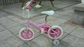 "12"" Princess Girls Bike with Stabilisers."