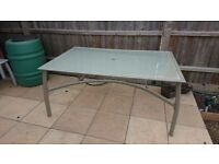 Large Grey Glass Patio Table