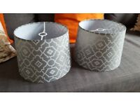 2 X lampshades, grey retro design