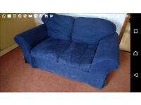 Sofa, 2 seater, blue with washable removeable covers