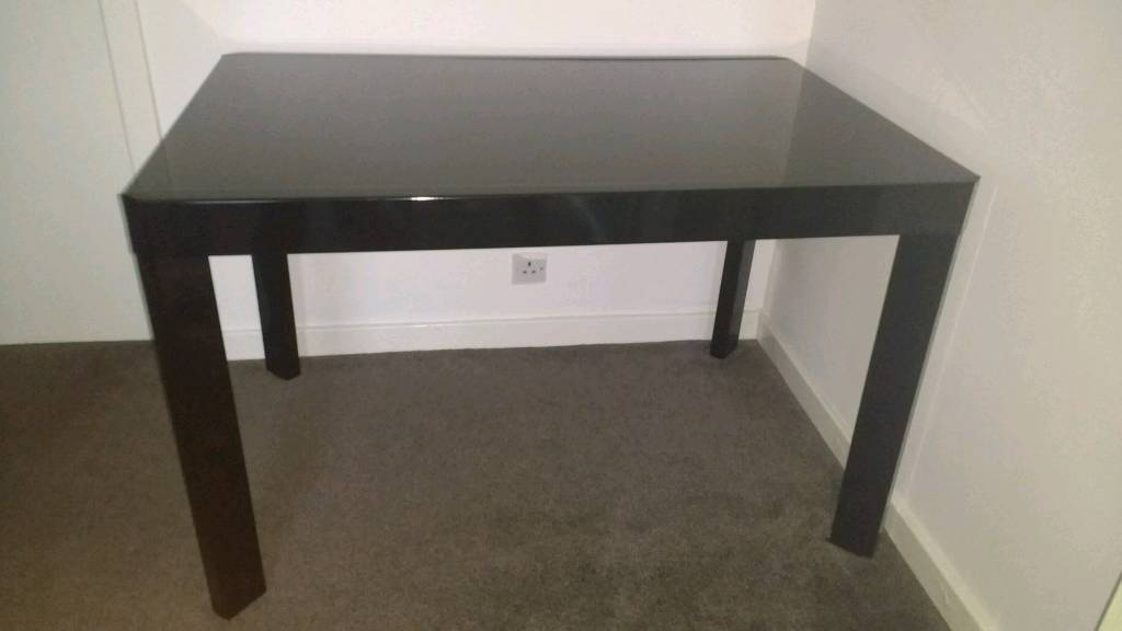 Black glass and metal, Cucina extending dining table.
