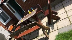 Heavy garden table and benches