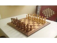 Large Solid Wood Chess Set - Weighted Chessmen and Walnut Chess Board
