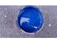 BLUE PAINT 4 litres approx. John Astley & Sons Ltd from Coventry. Shed clear-out