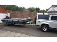 Avon inflatable workboat / Rib with 40 HP Mariner outboard and Gullwing roller trailer