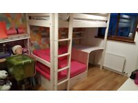 Mulit purpose bunkbed wuth built in desk and retractable spare futon bed.