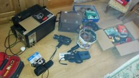 Vintage cine player, camcorder, reels, accessories and cameras